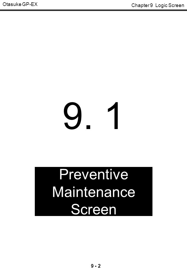 Preventive Maintenance Screen