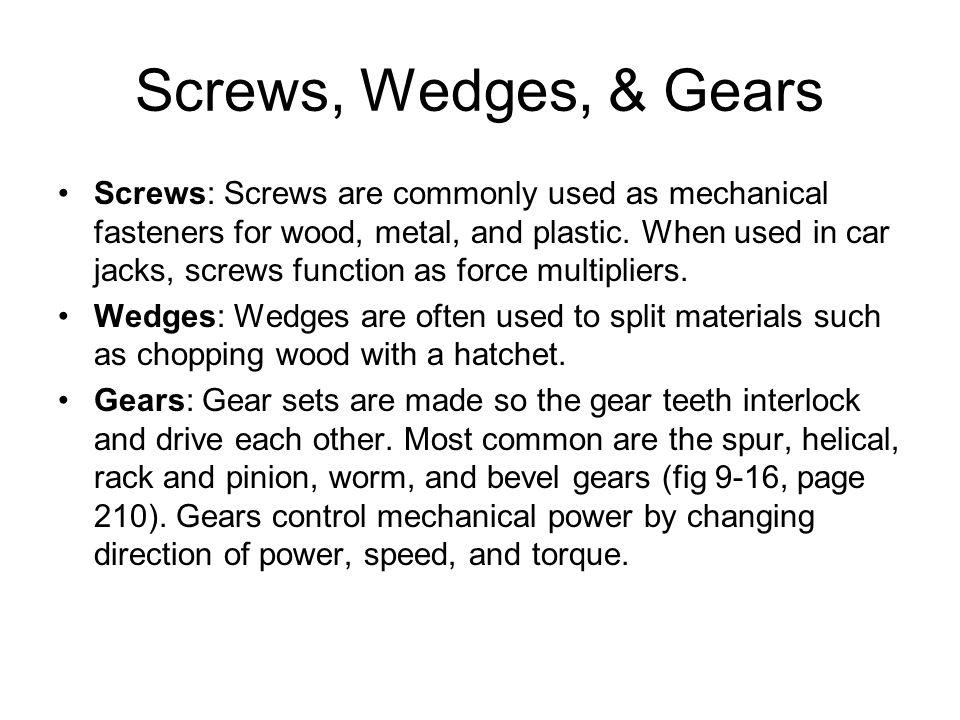 Screws, Wedges, & Gears