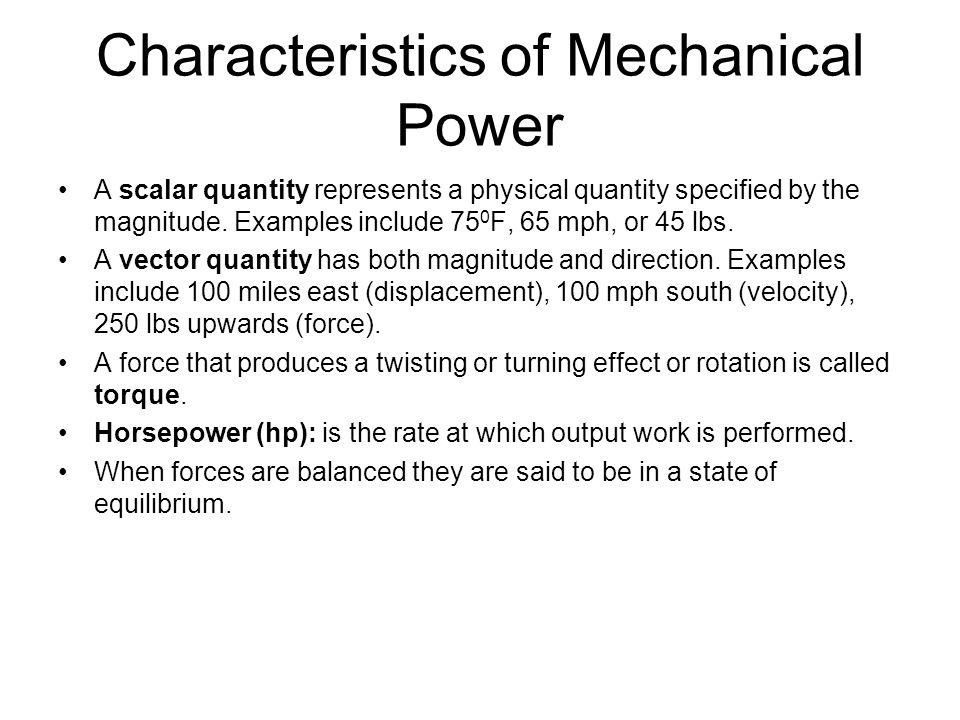 Characteristics of Mechanical Power