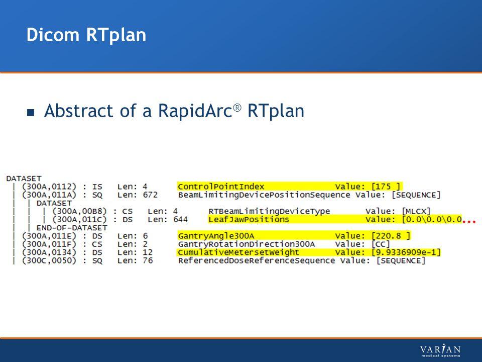 Dicom RTplan Abstract of a RapidArc® RTplan