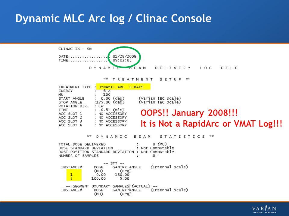 Dynamic MLC Arc log / Clinac Console