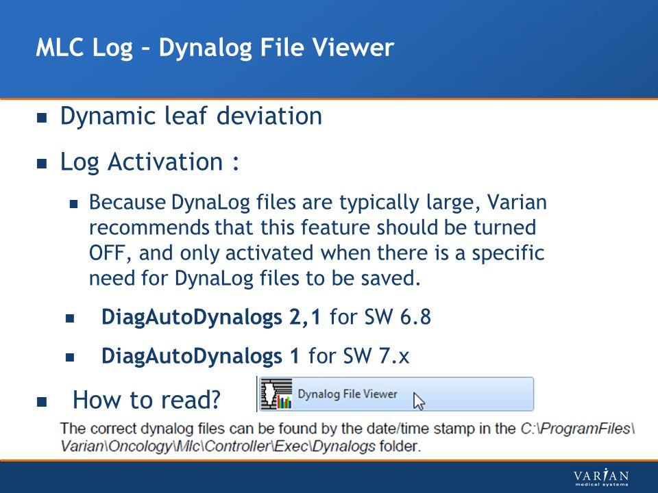 MLC Log – Dynalog File Viewer
