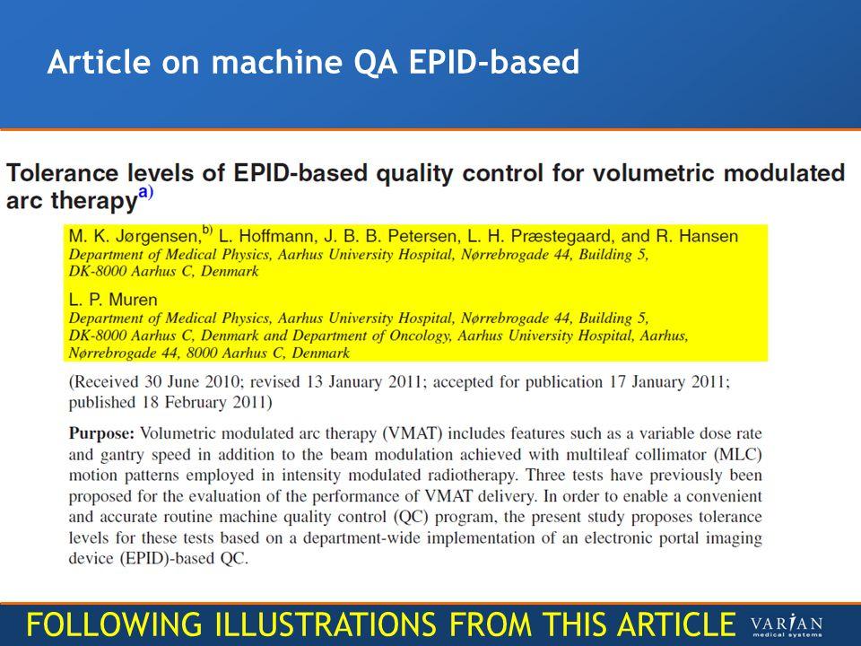 Article on machine QA EPID-based