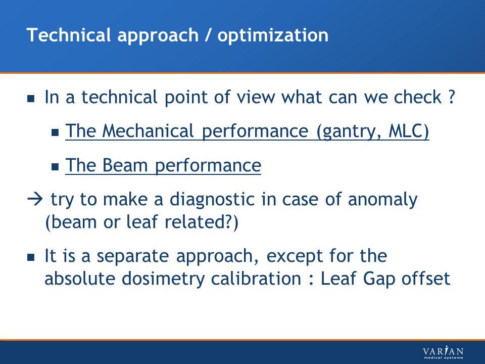 Technical approach / optimization