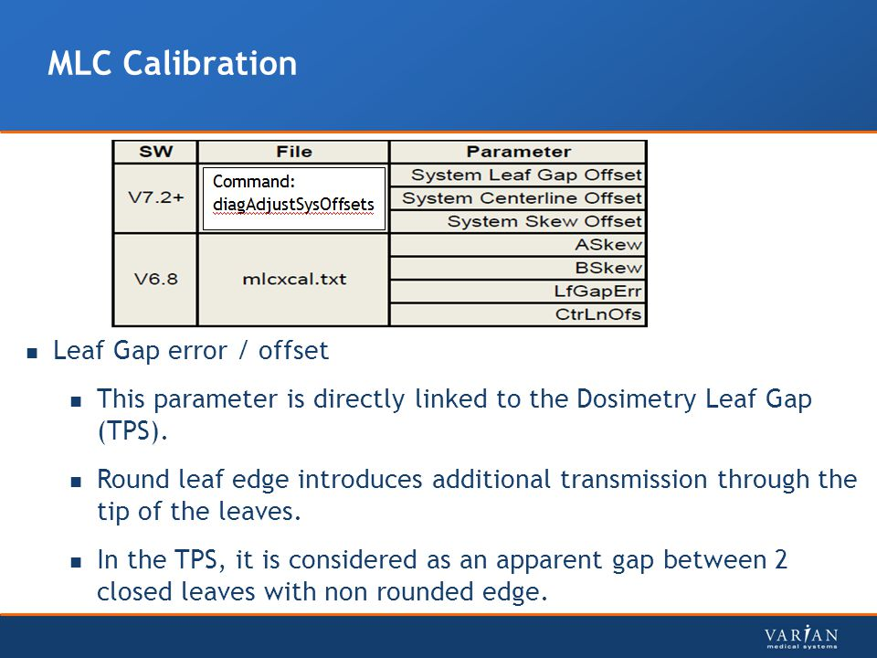 MLC Calibration Leaf Gap error / offset