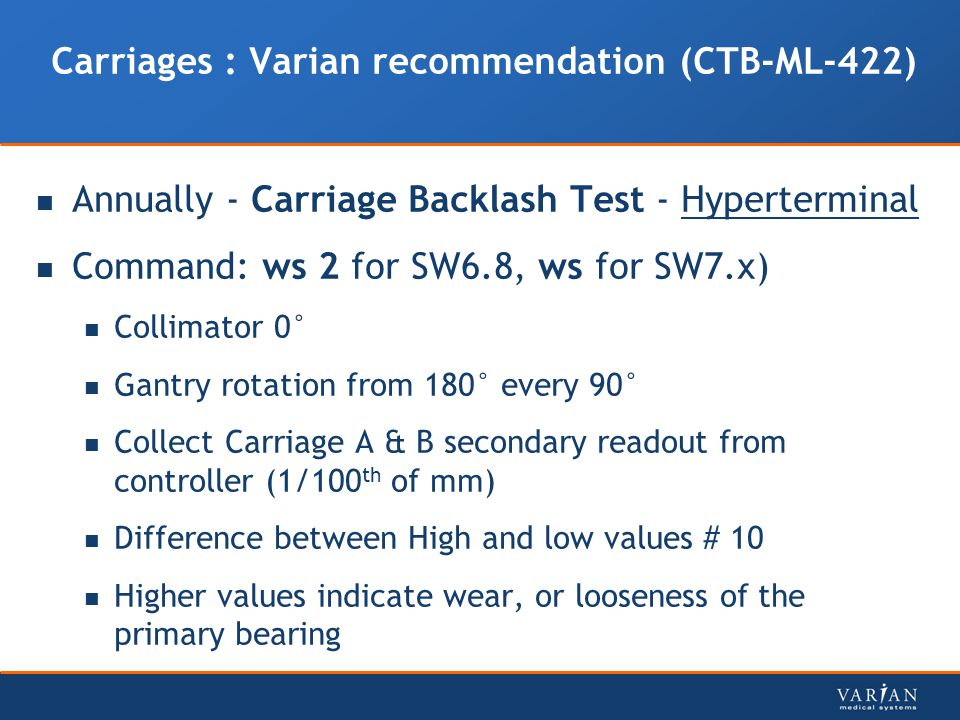 Carriages : Varian recommendation (CTB-ML-422)