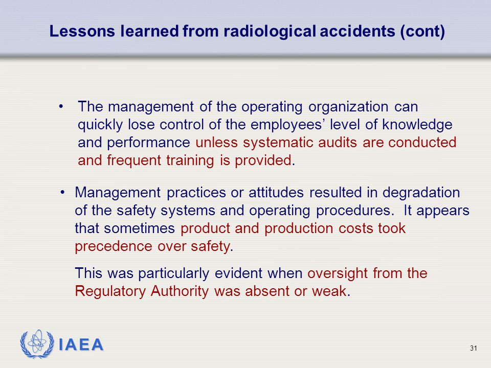 Lessons learned from radiological accidents (cont)