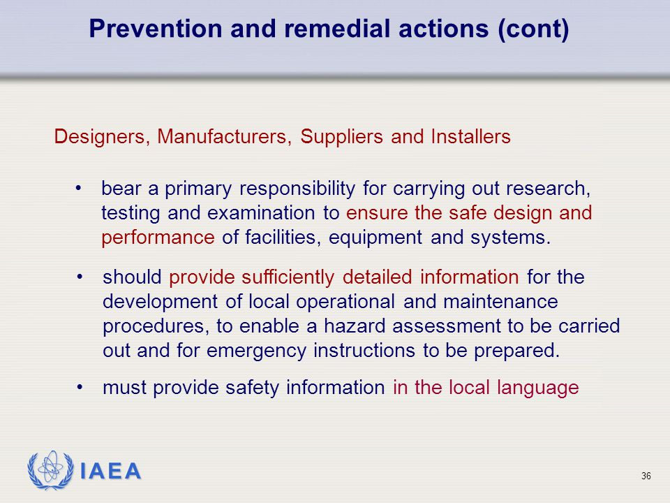 Prevention and remedial actions (cont)