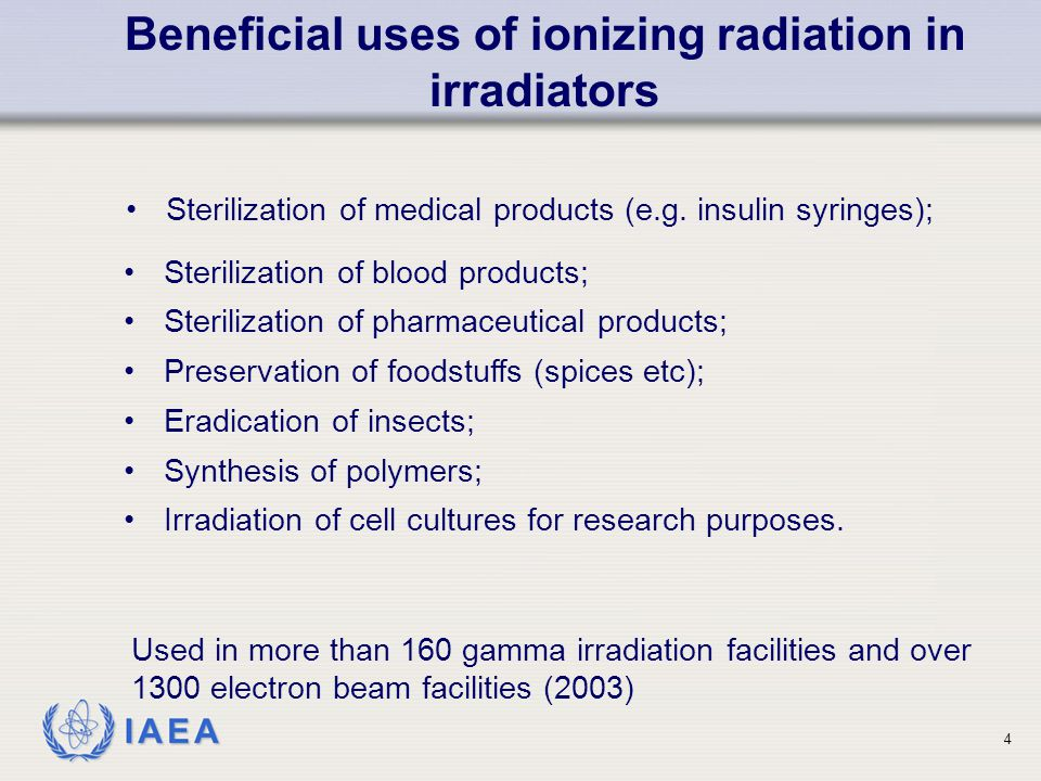 Beneficial uses of ionizing radiation in irradiators
