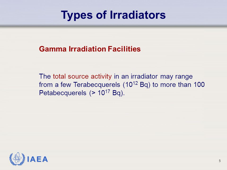 Types of Irradiators Gamma Irradiation Facilities