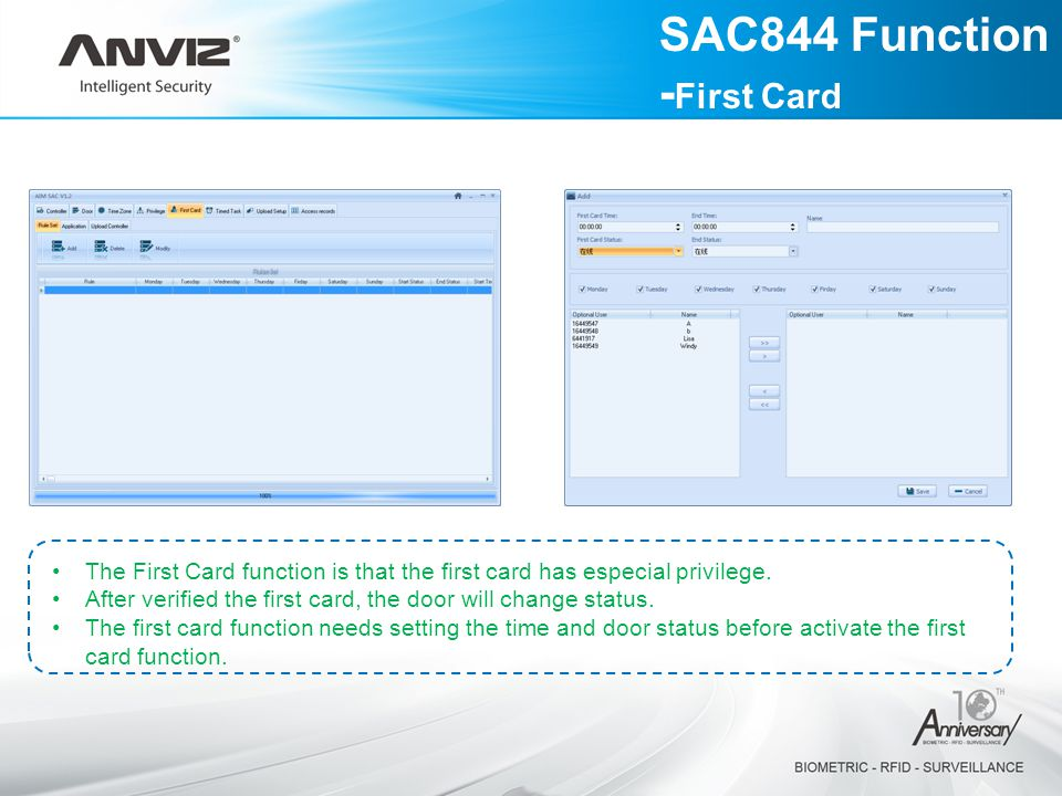 SAC844 Function -First Card