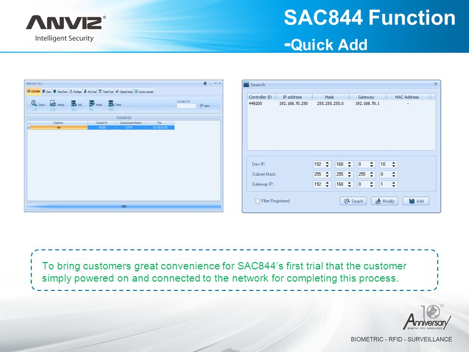 SAC844 Function -Quick Add