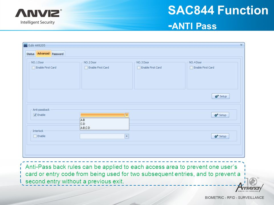 SAC844 Function -ANTI Pass