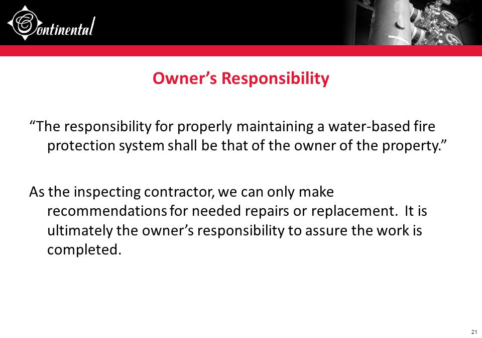 Owner's Responsibility