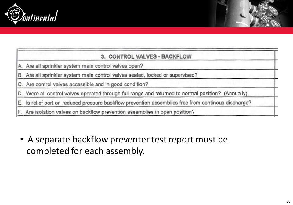 A separate backflow preventer test report must be