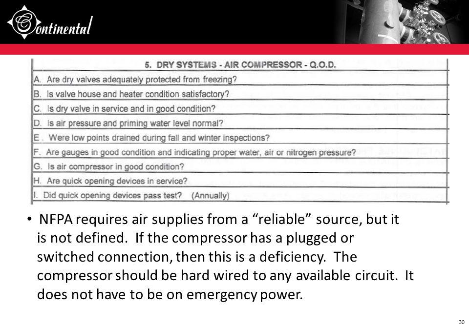 NFPA requires air supplies from a reliable source, but it