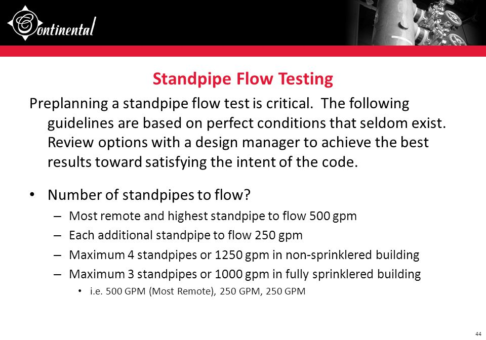 Standpipe Flow Testing