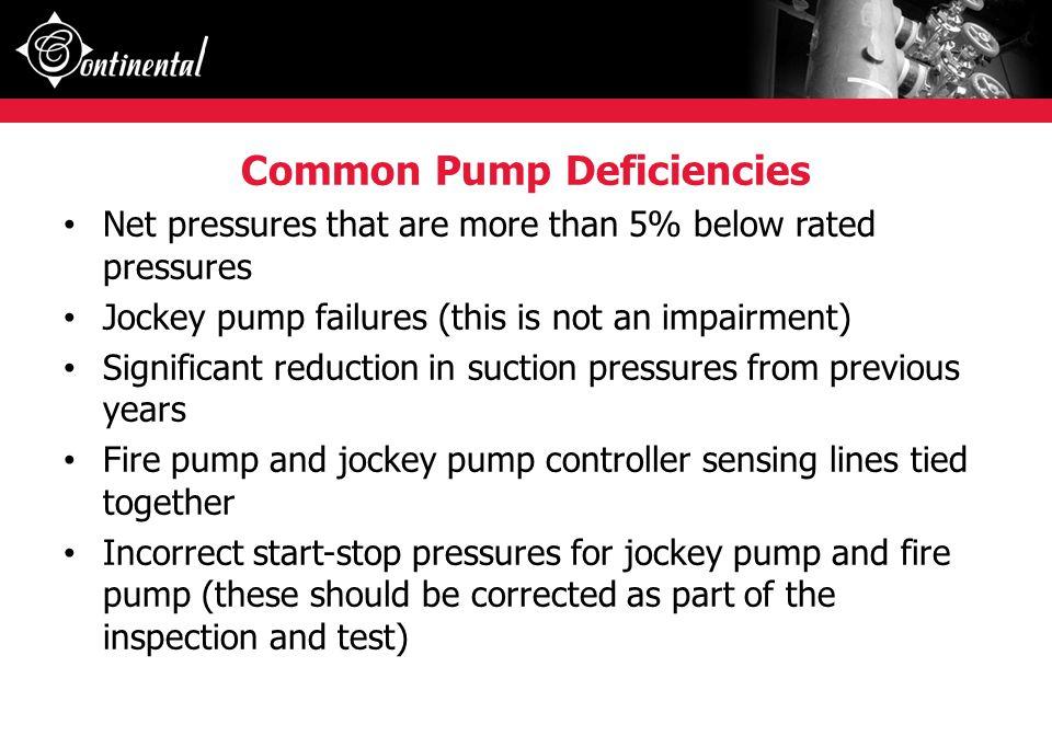 Common Pump Deficiencies