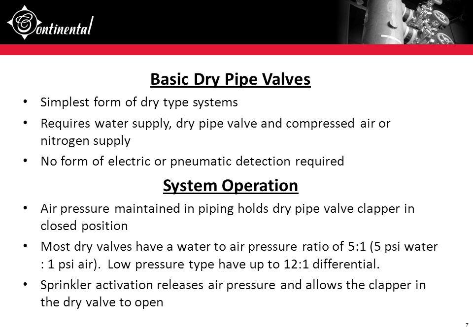 Basic Dry Pipe Valves System Operation