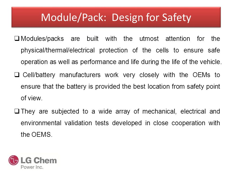 Module/Pack: Design for Safety