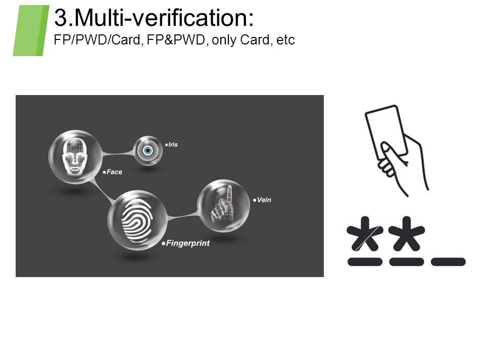 3.Multi-verification: FP/PWD/Card, FP&PWD, only Card, etc
