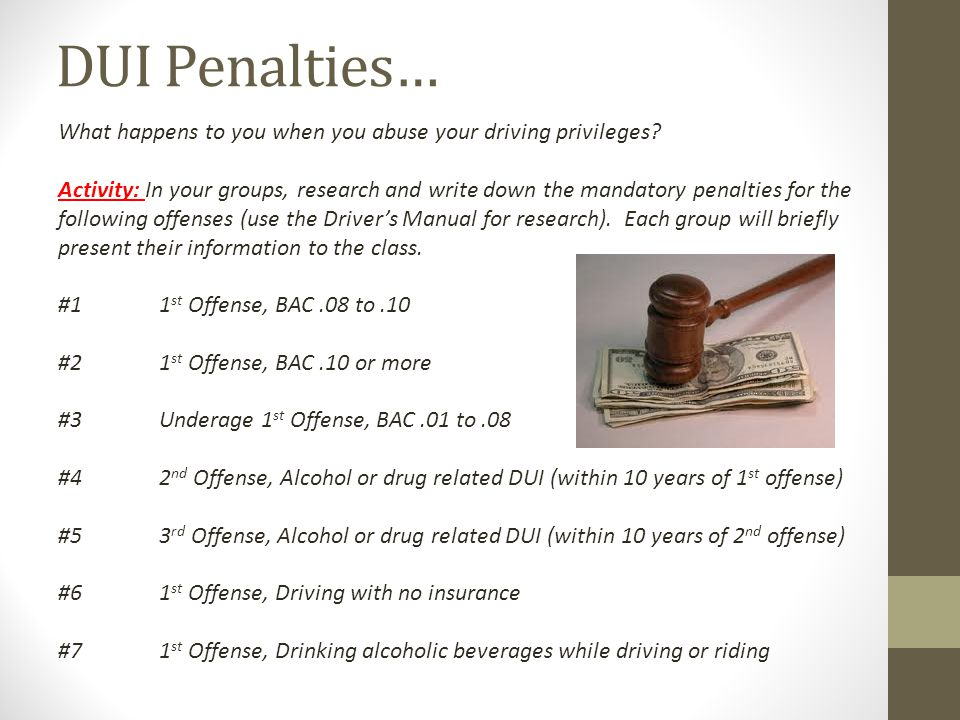DUI Penalties… What happens to you when you abuse your driving privileges