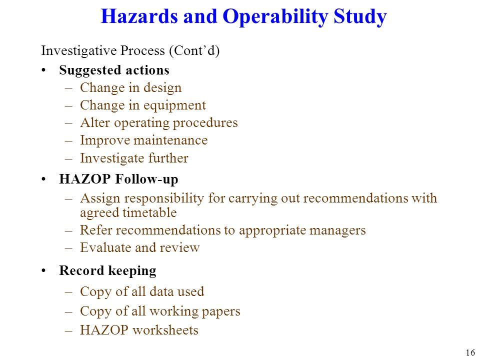 Hazards and Operability Study