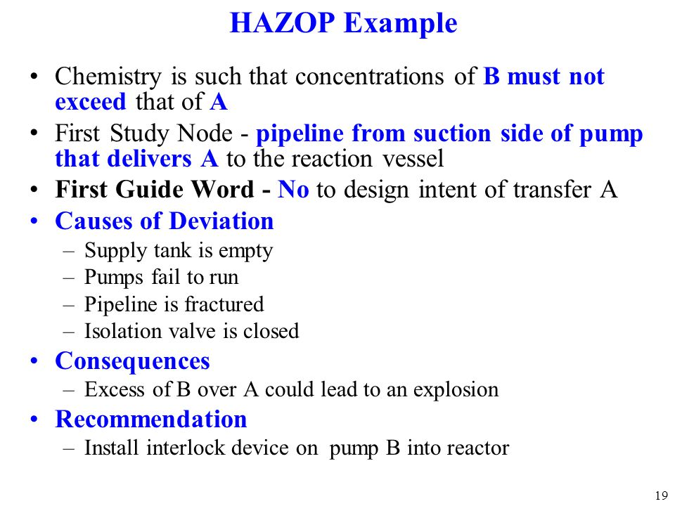 HAZOP Example Chemistry is such that concentrations of B must not exceed that of A.