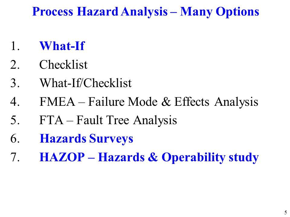 Process Hazard Analysis – Many Options