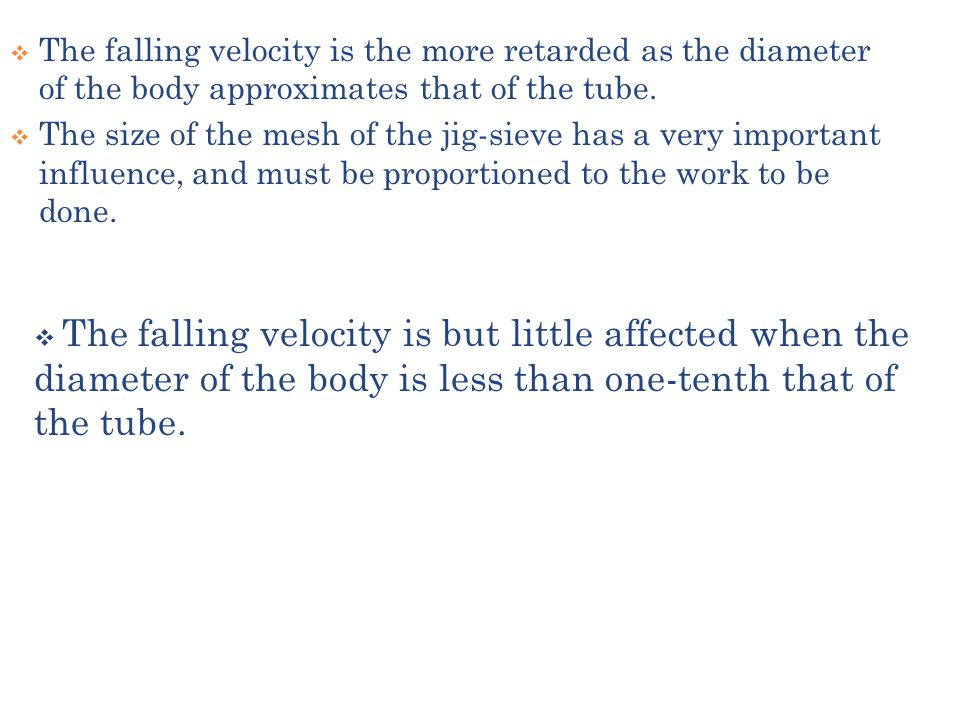 The falling velocity is the more retarded as the diameter of the body approximates that of the tube.