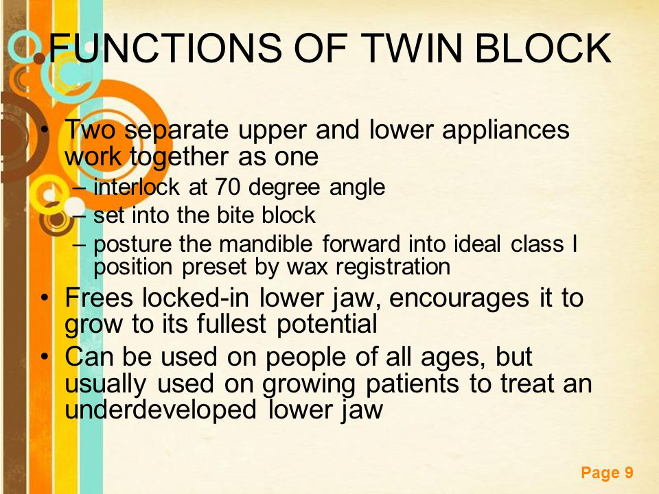 FUNCTIONS OF TWIN BLOCK