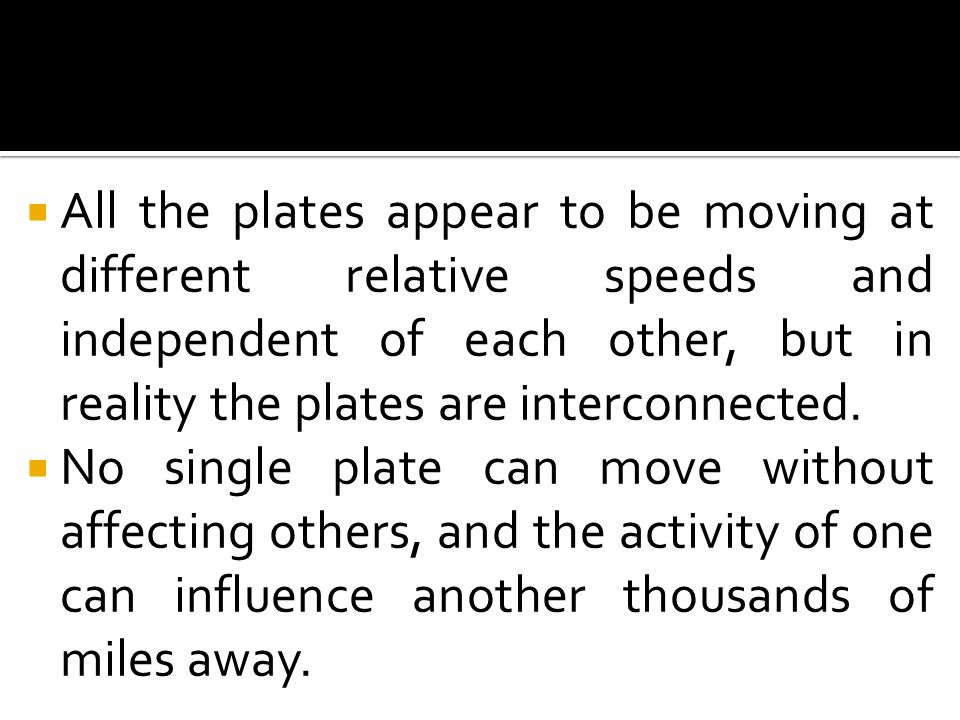 All the plates appear to be moving at different relative speeds and independent of each other, but in reality the plates are interconnected.