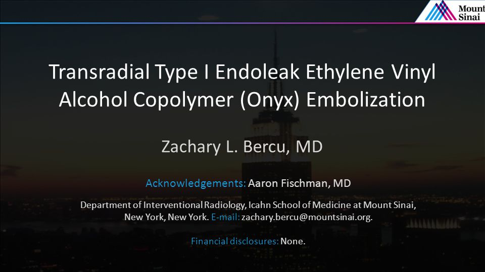 Transradial Type I Endoleak Ethylene Vinyl Alcohol Copolymer (Onyx) Embolization