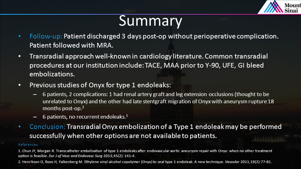 Summary Follow-up: Patient discharged 3 days post-op without perioperative complication. Patient followed with MRA.