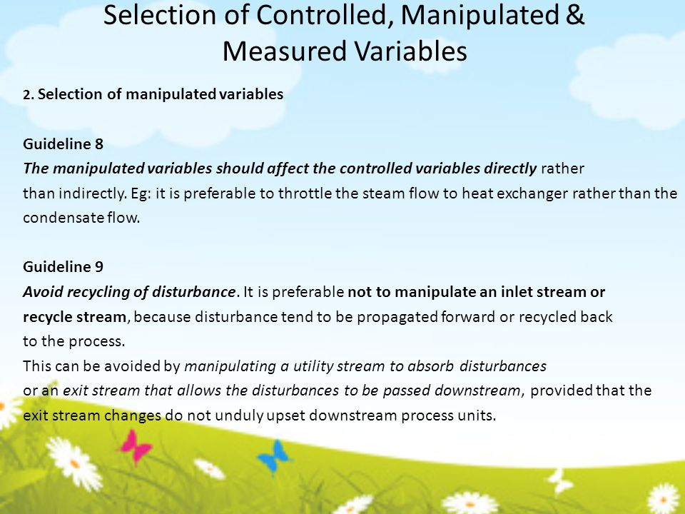Selection of Controlled, Manipulated & Measured Variables