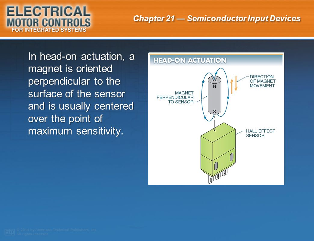 In head-on actuation, a magnet is oriented perpendicular to the surface of the sensor and is usually centered over the point of maximum sensitivity.