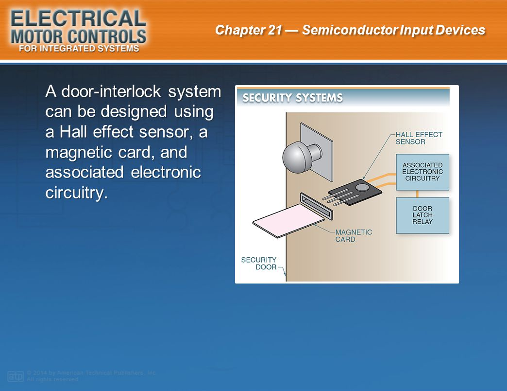 A door-interlock system can be designed using a Hall effect sensor, a magnetic card, and associated electronic circuitry.