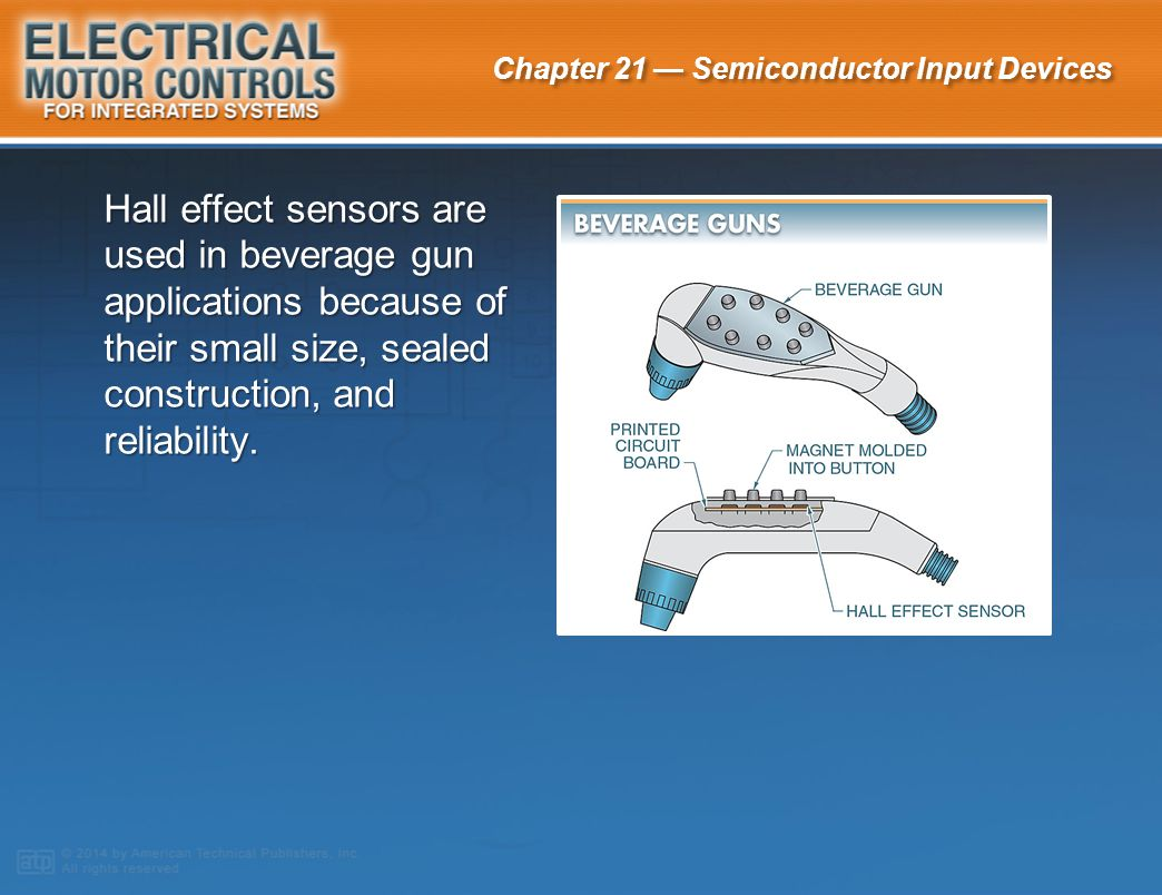 Hall effect sensors are used in beverage gun applications because of their small size, sealed construction, and reliability.