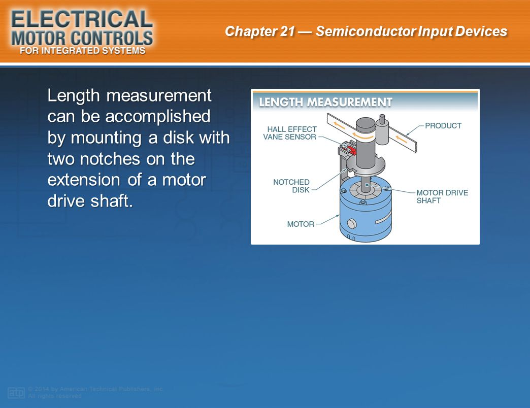 Length measurement can be accomplished by mounting a disk with two notches on the extension of a motor drive shaft.