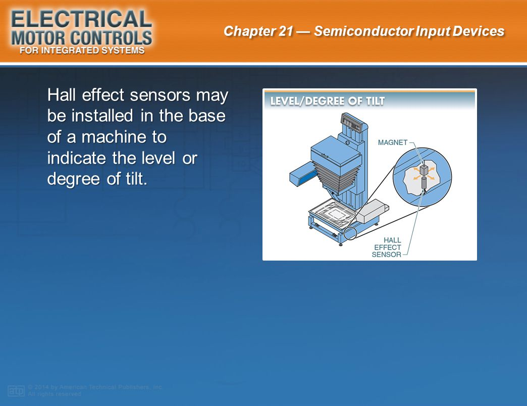 Hall effect sensors may be installed in the base of a machine to indicate the level or degree of tilt.