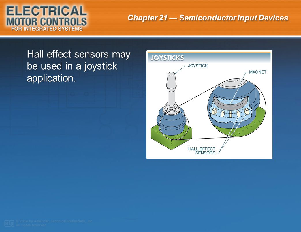 Hall effect sensors may be used in a joystick application.