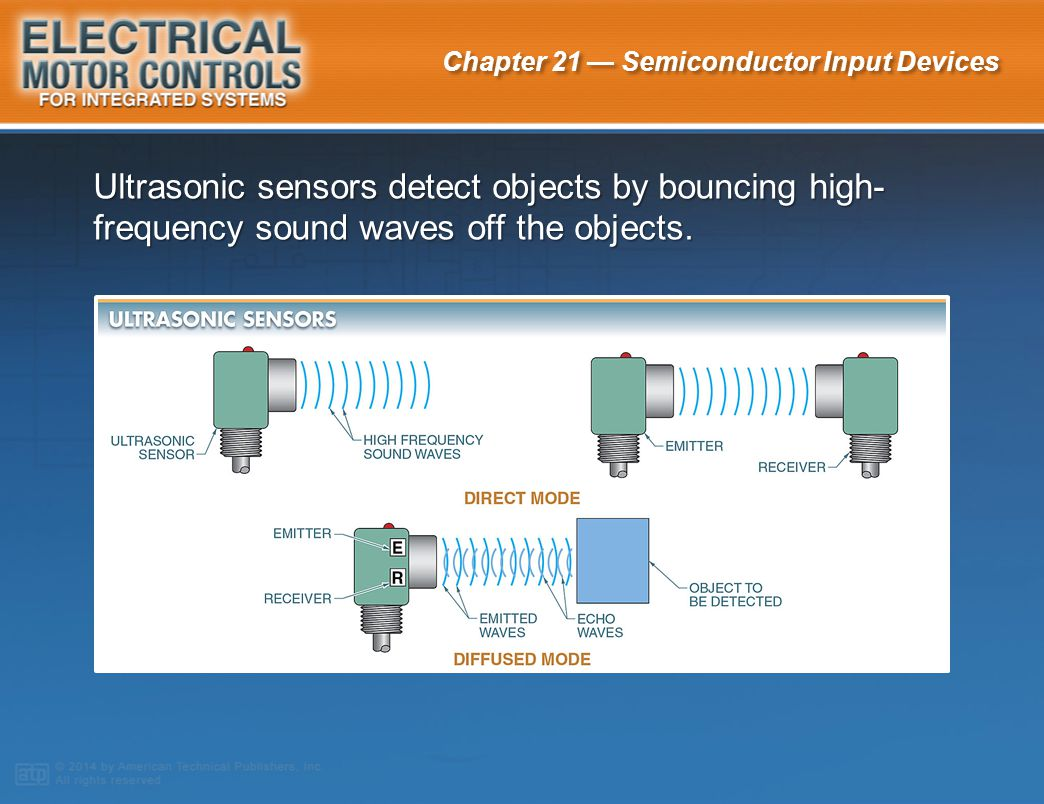 Ultrasonic sensors detect objects by bouncing high-frequency sound waves off the objects.