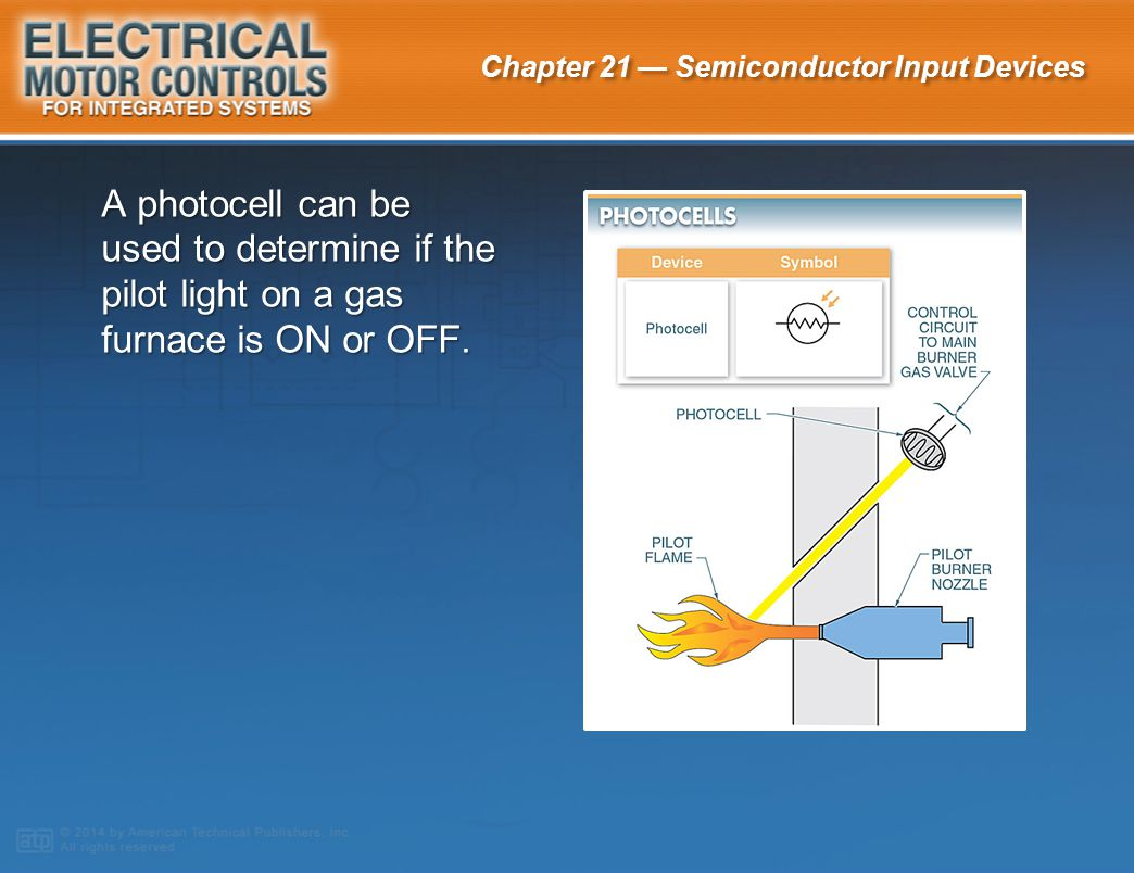 A photocell can be used to determine if the pilot light on a gas furnace is ON or OFF.