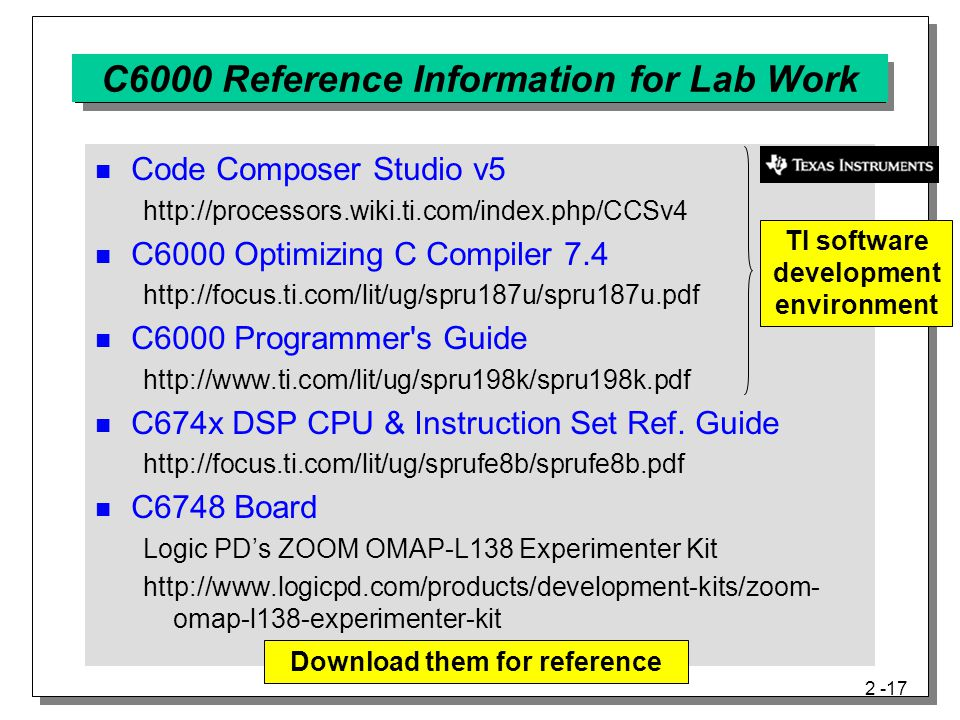 C6000 Reference Information for Lab Work