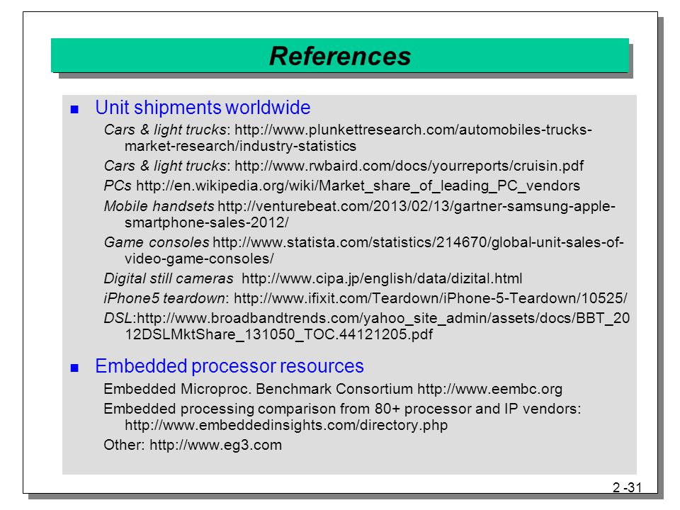 References Unit shipments worldwide Embedded processor resources