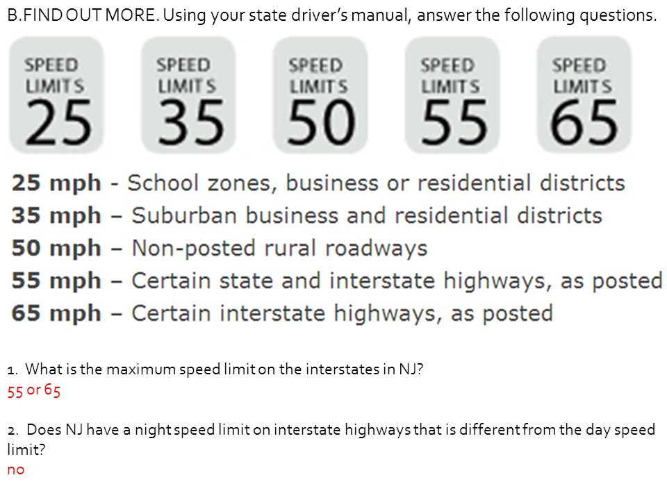 B.FIND OUT MORE. Using your state driver's manual, answer the following questions.