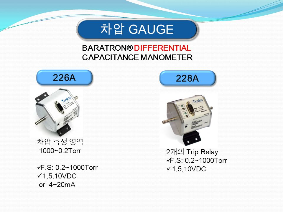 차압 GAUGE 226A 228A BARATRON® DIFFERENTIAL CAPACITANCE MANOMETER