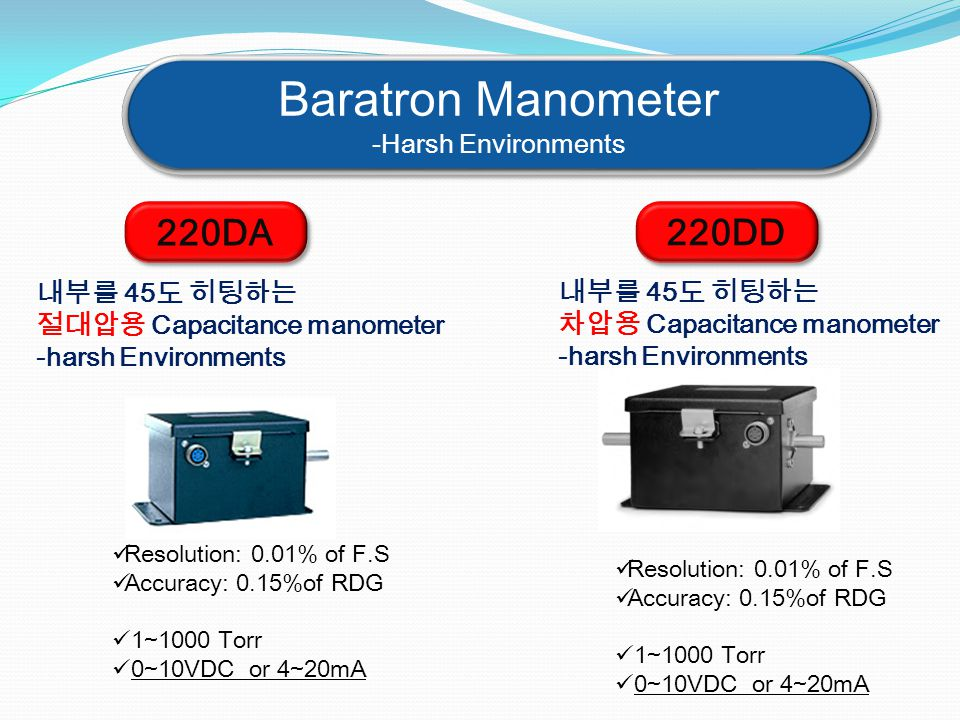 Baratron Manometer 220DA 220DD -Harsh Environments 내부를 45도 히팅하는