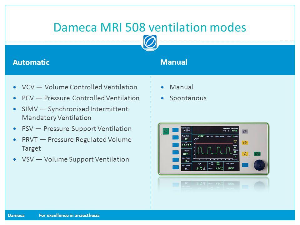 Dameca MRI 508 ventilation modes