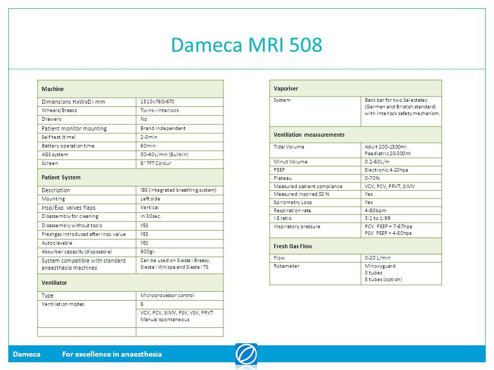 Dameca MRI 508 Machine Dimensions HxWxD i mm Patient monitor mounting